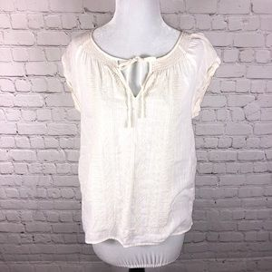 Madewell Embroidered Peasant Top Short Sleeve S